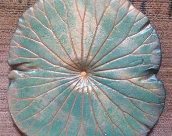 Metallic teal lotus burst ~concrete lotus leaf