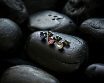 Swarovski Crystal Solitare Earrings set in Rhodium finish. Set of 3 pairs , 1 in each colour