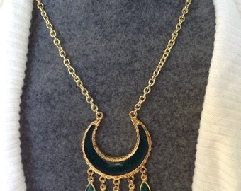 Green and Gold Pendant with Gold Chain
