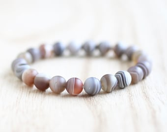 Matte Botswana Agate Stretch Bracelet. Crown Chakra. Take Your Power Back. Quit Smoking. Release Emotions. Botswana Agate Bracelet.