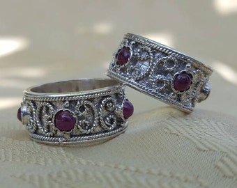 Italian Renaissance Wedding Bands Set, Matching His and Hers Designer Wedding Rings, Sterling Silver with Genuine Rubies