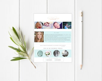 8.5x11 Photography About me Page Template-Instant download-Photographer pre made page design-by whitecottagedesignco