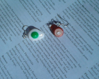 Green eggs and ham dangle earrings
