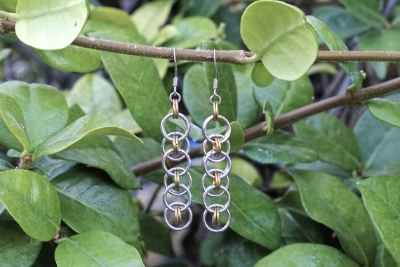Stainless Steel and Brass - Helm Chain - Chainmaille Earrings