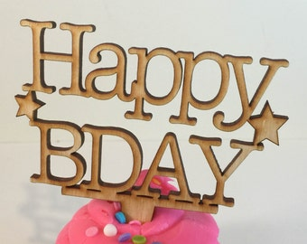 Happy Birthday Cupcake and Cake Toppers - Wooden Cupcake Topper