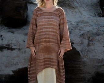 GODDESS Earth Brown Dress Khadi Earthy Clothing Ethereal Boho Organic Natural Hand Woven Tribal Clothing