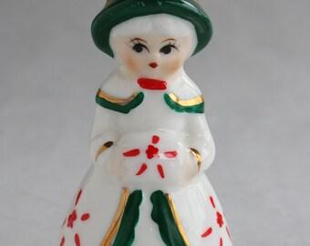 Vintage Ceramic Christmas Caroler/girl/bell