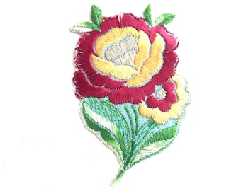 Applique, Flower applique, 1930s vintage embroidered applique. Vintage floral patch, sewing supply. #649GC8K1