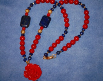 Egyptian Rose Necklace - egypt - kemetic - neter - netjer - lapis lazuli - red coral