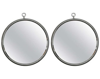 Pair of Midcentury Round Silver Metal Mirrors