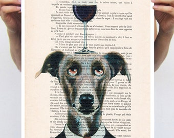 Greyhound Poster, Greyhound Artwork, Alice in Wonderland, print from original painting by Coco de Paris: Greyhound with wineglass