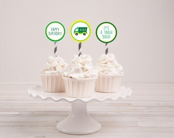 Trash Truck Birthday Cupcake Toppers  {instant download}
