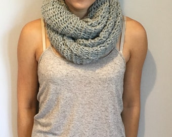 Grey, Wool Blend, Knit Infinity Scarf