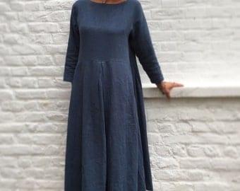 Bohemian dress 100% washed linen