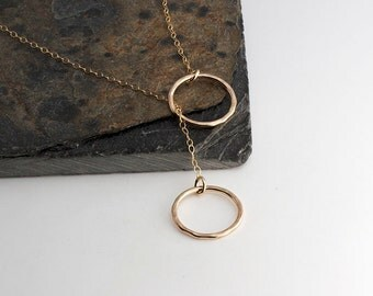 Double Circle Necklace,Gold Necklace,Modern Minimalist Jewelry,Dainty Jewelry,Modern Necklace,Karma Necklace,Good Luck,Gift,Sister necklace