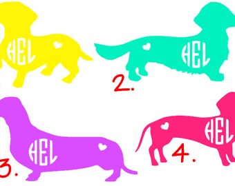 Dachshund Monogram Decal- dog decal, miniature dachshund decal, doxie decal, weenie dog decal, GLITTER available