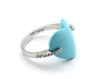Turquoise Heart 18k White Gold Ring, Turquoise Diamond Accented Ring, Love Ring, Anniversary Ring