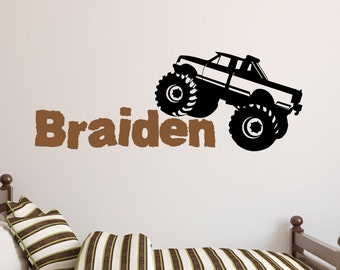 Monster Truck with Name Wall Decal-Monster Truck Decor-Wall Decal Stickers-Boys Room Decor-Mudding Truck Wall Decals-Wall Vinyl Stickers