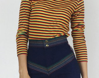 1970's Primary Striped Turtleneck Long Sleeve
