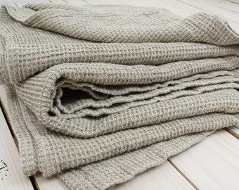 Linen Plaid Blanket Coverlet - Natural Flax Waffle Blanket - Throw Duplex Blanket - Summer Linen Blanket -  Picnic Beach Blanket- Soft Linen