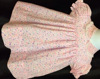 Vintage Styled, Pink Calico Print Toddler Dress With Lace Trim.