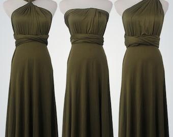 Olive Green SHORT Cocktail Dress Evening Dress Infinity Dress Convertible Formal Wrap Dress  Bridesmaid Dress Party Dress