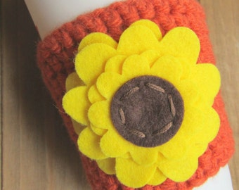 Sunflower Crochet Coffee Cozy! Pretty Autumn Travel Cup Coffee Sleeve! Floral Coffee Cosy Birthday Gift Sunflower Gift
