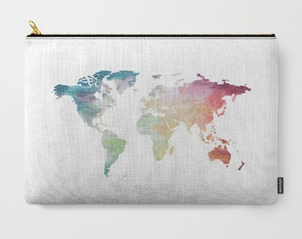 World Map Bag, Globe Carry All, Map Zipper Bag, Travel Makeup Bag, Map Pencil Case, iPad Pouch, Wanderlust Tote, Art Supply Bag, Coin Purse