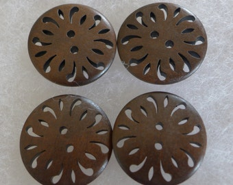 4 large wooden buttons - chocolate brown - 30 mm