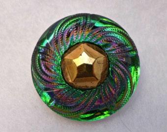 Czech glass button - green, pink, blue, gold, peach - 27mm