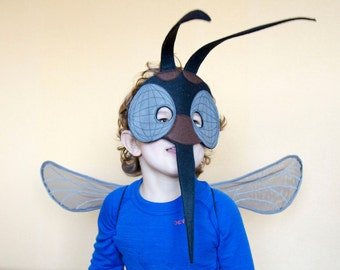 Mosquito costume, adults Insect costume, kids bug costume, felt Mosquito mask wings set, Halloween costume, insect wings, masquerade mask