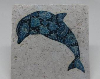 Blue Dolphin Coaster, Set of 4, Stone Tile Coasters, Photo Coasters, Natural Tumbled Stone Coasters