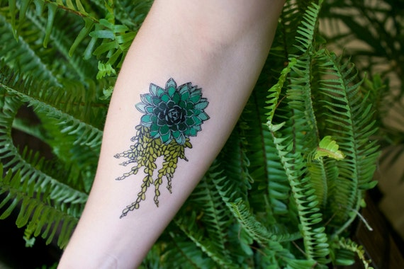 Succulent Temporary Tattoo, Colorful Tattoo Design, Botanical Drawing, Green Leaves, Flower Tattoo, Nature Tattoo