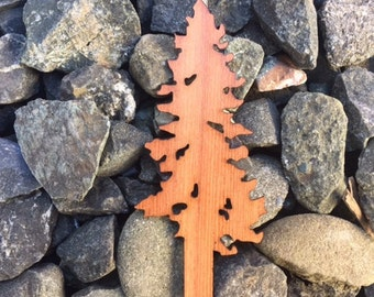 Tall Tree Redwood Wood Veneer Laser Cut Sticker