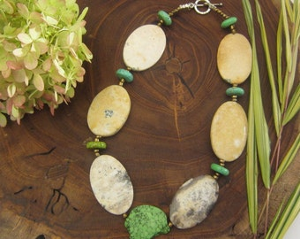 Chain, short, opaline, gemstone Green