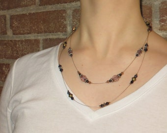 Two-Strand Illusion Necklace - Black and Purple