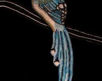 Brooch bird embroidered hand