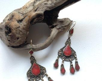 Red ethnic earrings, bohemian style, tibetan earrings, nepalese jewelry
