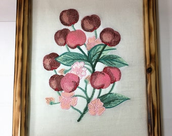 Cherry Blossom Embroidered Kitchen Art