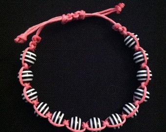 Macrame Bracelet Pink Black and White