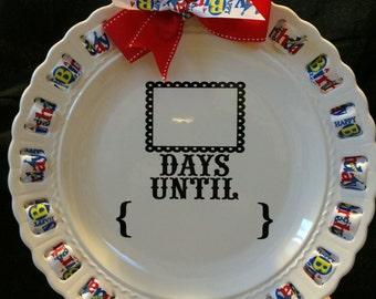 "12"" ""Countdown"" Ribbon Plate; birthday, vacation, holiday countdown"