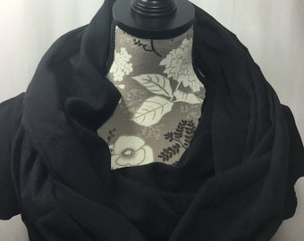 Black Gauze Infinity Scarf, Lightweight Scarf, Gift for her, Gift for Wife, Scarves for Women, Mother's Day, Infinity Scarves, Black