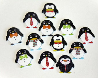 12 Penguin Wooden Buttons