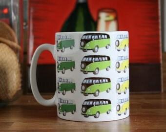 Ceramic Coffee/Tea Mug with Volkswagen Camper Van print, Multi Coloured VW Camper prints Coffee/Tea Mug, Camper Van Prints.