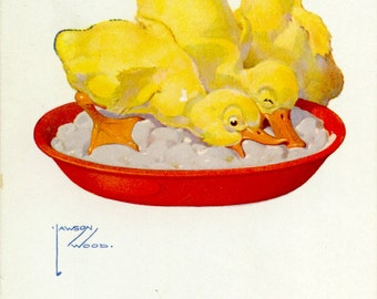 Ladies First' Chicks Eating by LAWSON WOOD 1920-30's Children's Comic POSTCARD