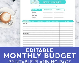 Monthly Budget Planner Page - Home Family Finance Tracker - Budget Planner Insert - Printable and Editable - A4 A5 Letter