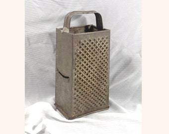 Primitive Tall Tin Cheese Box Grater / Shredder, Kitchen Ware