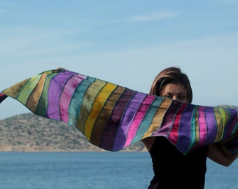 Liz & Joe viscose scarf, khaki/fuchsia/purple, handdyed, tie dye, handmade with leftover textiles, hippy chic