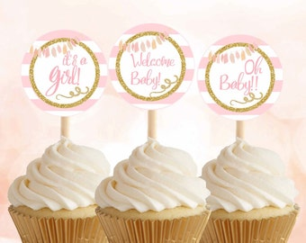 "Pink and Gold baby shower Cupcake toppers, Baby shower tags, Pink gold baby shower stickers 2"" Baby shower decor, Digital File."