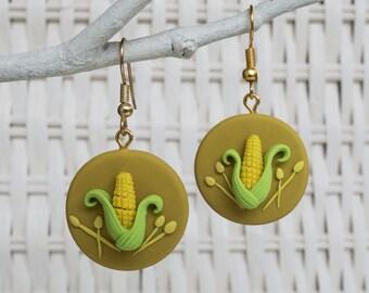 Corn  Earrings, Corn Clay Earrings, Corn Polymer Earrings, Corncob Earrings, Farm Clay Earrings, Gardener Clay Earrings, Polymer Disk Corn